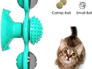 M MKPET Cat Toys Interactive Rotating Windmill Cat Toy with Catnip and little Bell Catnip Toys for Cat Funny Kitten Windmill Ball  Scratching Tickle Cats Hair Brush