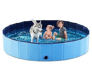 Jasonwell Foldable Dog Pet Bath Pool Collapsible Dog Pet Pool Bathing Tub Kiddie Pool for Dogs Cats   Kids  63 D x 11 8 H  Blue    not Inspected
