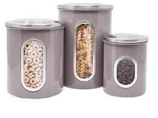 Canisters Set  3 Piece Window Kitchen Canister with Fingerprint Resistance lids  Taupei1 4