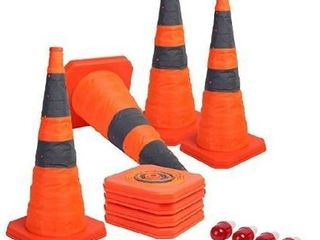 Sunnyglade  4 Pack  28 inch Collapsible Traffic Cones with lED light Multi Purpose Pop up Reflective Safety Cone  Orange x4