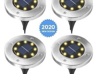 3 boxes of Elfeland Solar Ground lights 8 lEDs Solar lights Outdoor Waterproof Auto On Off landscape Spike lawn light Pathway light Solar Powered Disk light for Yard Deck lawn Patio Walkway  White 4 Pack