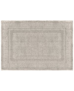Cotton Stonewash Racetrack 17x24 in  Bath Rug  lt Gray