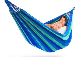Sorbus Brazilian Double Hammock   Extra long 2 Person Portable Hammock Bed for Indoor or Outdoor Spaces   Hanging Rope  Carrying Pouch Included  Blue Green Stripes