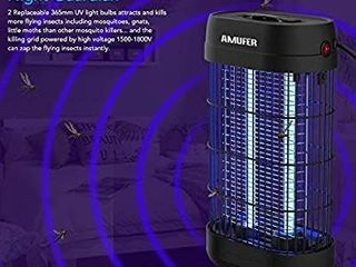 AMUFER Bug Zapper  Electronic Fly   Mosquito Killer  Powerful 1800V Grid UV Trap light with Hanger 18W Indoor large Area Insect Catcher   for Indoor Bedrooms and Gardens