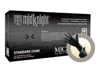 Microflex MidKnight Nitrile Glove  Powder Free  9 6  length  4 7 mils Thick  X large  Pack of 1000