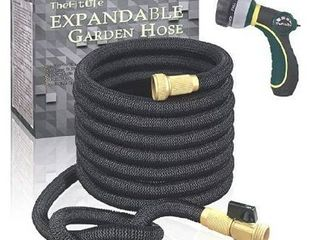 TheFitlife Flexible and Expandable Garden Hose   Strongest Triple latex Core with 3 4  Solid Brass Fittings Free 8 Function Spray Nozzle  Easy Storage Kink Free Water Hose  50 FT
