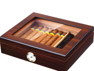 Handmade Cigar Humidor  Cedar Cigar Desktop Box with Humidifier and Hygrometer  Glass Top for 25 Cigars  20 25 Cigars