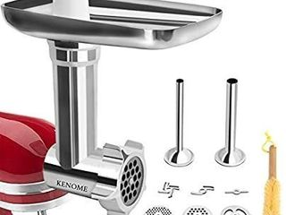 Metal Food Grinder Attachment for KitchenAid Stand Mixers Includes 2 Sausage Stuffer Tubes Durable Meat Grinder Attachment for KitchenAid Silver