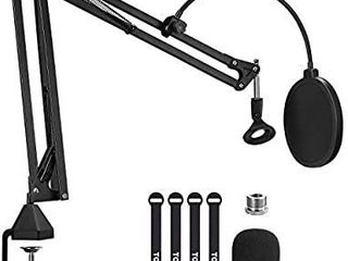 Microphone Arm Stand  TONOR Adjustable Suspension Boom Scissor Mic Stand with Pop Filter  3 8  to 5 8  Adapter  Mic Clip  Upgraded Heavy Duty Clamp for Blue Yeti Nano Snowball Ice and Other Mics T20