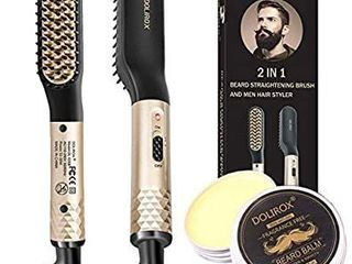 Beard Straightener for men w FREE Beard Balm Hair Styler Electric Hot Comb and Beard Straightening Brush Heated Hair Straightener Comb Stocking Stuffers Gifts for Him Men Women