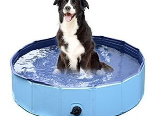 Jasonwell Foldable Dog Pet Bath Pool Collapsible Dog Pet Pool Bathing Tub Kiddie Pool for Dogs Cats and Kids  32inch D x 8inch H  Blue