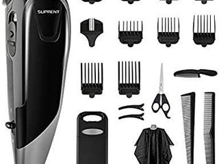 Hair Clippers SUPRENT Corded Hair Clippers for Men  21 piece Hair Cutting Kit with 27 Cutting length  10 Guide Combs  Scissor  Storage Case APPEARS USED  Accessories may vary