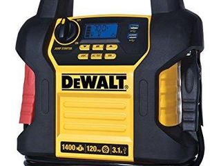 DEWAlT DXAEJ14 Digital Portable Power Station Jump Starter  1400 Peak 700 Instant Amps  120 PSI Digital Air Compressor  3 1A USB Ports  Battery Clamps