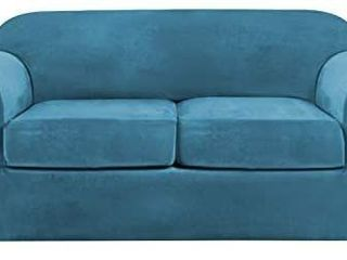 Velvet Stretch 3 Piece loveseat Covers for 2 Cushion Couch loveseat Slipcovers  Base Cover and 2 Individual Seat Cushion Covers  Thick Sofa Covers Bonus Two Elastic Straps  loveseat  Blue