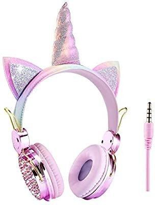 Unicorn Kids Headphones Wired Over Ear Cute Girl Headsets for Children Christmas Parties Birthday Gifts  Unicorn