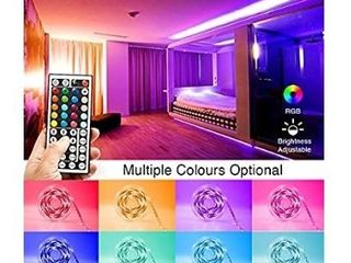 PHOPOllO lED Strip lights  32 8ft RGB Color Changing lED lights Strip  5050 Flexible lED Tape light with 44 Key IR Remote Controller and 12V Power Supply  Ideal for Bedroom Home and Holiday Decoration