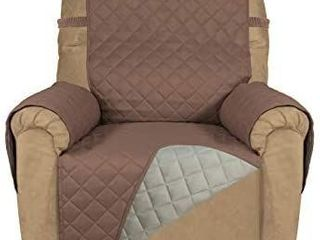PureFit Reversible Quilted Recliner Sofa Cover  Water Resistant Slipcover Furniture Protector  Washable Couch Cover with Elastic Straps for Kids  Dogs  Pets  Recliner  Chocolate Beige
