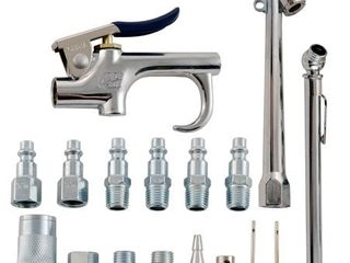 Accessory Kit  17 Piece Compressor Inflation Kit  with Blow Gun  Air Chucks    Inflation Needles  Campbell Hausfeld MP284701AV