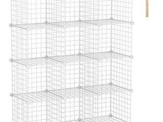 C AHOME Wire Cube Storage Organizer  12 Cube Storage Shelf  Storage Bins  Modular Bookshel Shelving  DIY Closet Cabinet Ideal for living Room  Bedroom  Office 36 6al x 12 4aW x 48 4aH White
