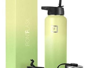 Iron Flask Sports Water Bottle   40 Oz  3 lids  Straw lid  Vacuum Insulated Stainless Steel  Hot   Cold  Wide Mouth  Double Walled  Hydro Metal Canteen  lime
