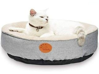 HACHIKITTY Washable Donut Cat Bed Round  Cat Beds Indoor Cats Medium  Small Cat Bed Machine Washable 18