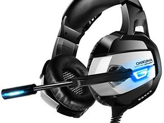 ONIKUMA Gaming Headset   Xbox One Headset PS4 Headset PC Headset with Noise Canceling Mic  7 1 Surround Bass  Gaming Headphones for PS4  Xbox One  PC Gamecube  Nintendo 64  Adapter Not Included