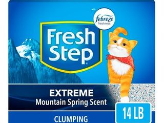 Fresh Step Extreme Scented litter with The Power of Febreze  Clumping Cat litter a Mountain Spring  14 lb  Grey