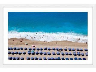 Marmont Hill   Handmade Blue Umbrella Rows Framed Print  Retail 149 49