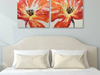 Fleur Rouge Wall Art High Resolution Graphic Art Print on Wrapped Canvas   Orange  Retail 101 99