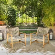 Hampton Outdoor Mid century Wicker Club Chair  Set of 2  by Christopher Knight Home  Retail 282 99 light grey wash