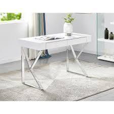 Best Master Furniture White Glossy 2 Drawer Modern Desk  Retail 408 99 silver