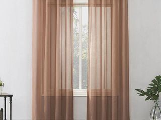 84 x59  Emily Sheer Voile Grommet Top Curtain Panels Orange   No  918