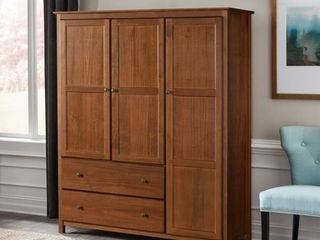 Grain Wood Furniture Shaker 3 door Solid Wood Armoire   60x72x22  Retail 844 49 2 boxes