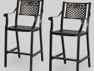 Tahoe Outdoor 29  Aluminum Barstool set of 2 only shiny copper