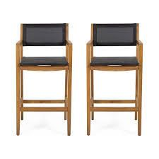Fairfax Outdoor Acacia Wood Barstools with Outdoor Mesh set of 2 only teak and black
