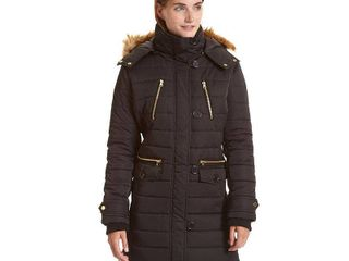 Excelled Women s Black Brown Polyester and Faux Fur Hooded 3 4 length Puffer Jacket  Retail 88 99