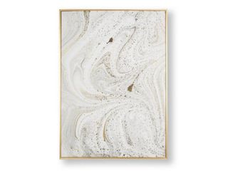Marble luxe Framed Canvas Wall Art   light Grey Gold  Retail 90 00