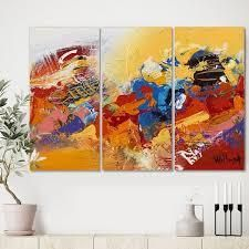 Designart  Abstract Red and Yellow 03  Premium Modern Canvas Wall Art   36x28   3 Panels  Retail 92 49
