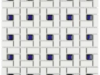 SomerTile 12 5x12 5 inch Spiral Cobalt and White Porcelain Mosaic Floor and Wall Tile  10 tiles 11 07 sqft