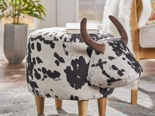 Bessie Fabric Cow Patterned Ottoman by Christopher Knight Home  Retail 81 48
