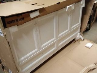 bathroom cabinet white 60 inch with double top with mirror top broken