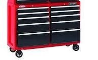 Craftsman 52 in  10 drawer Steel Rolling Tool Cart 37 5 in  H x 18 in  D Black Red