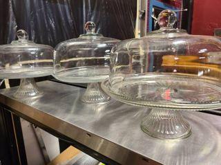 lot of 3 matching Glass Cake risers
