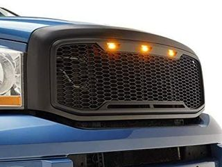 EAG Replacement ABS Upper Grille with Amber lED lights  Matte Black for 06 08 Dodge Ram 1500   06 09 Dodge Ram 2500 3500