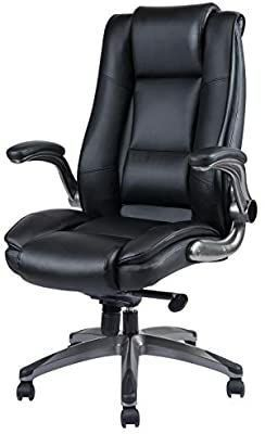 REFICCER High Back leather Office Chair for Computer   Adjustable Tilt Angle and Flip Arms Thick Padded Swivel Chair for Comfort and Ergonomic Design for lumbar Support  Black
