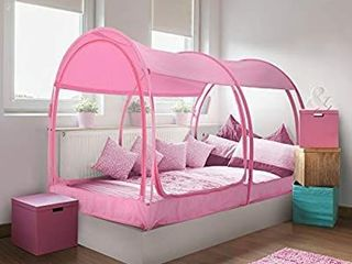 Alvantor Mosquito Net for Sleeping Canopy Bed  with Privacy Space  Twin Size  Portable Pop Up Frame  Breathable  Pink  Mattress Not Included