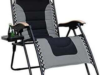 PHI VIllA Xl Oversized Zero Gravity Recliner Chair with Free Cup Holder  Supports 350 Pounds  Gray