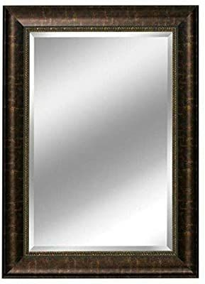 Head West Distressed Embossed Mirror  31 by 37 Inch  Bronze