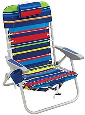 Rio Beach 4 position lace up Backpack Folding Beach Chair Multi Stripe
