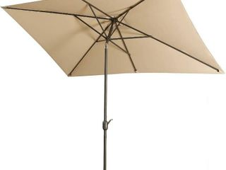 Outdoor Market Umbrella  10 x 6 5 Feet  Square Patio Umbrella with Tilt Button and Crank lift Vent  6 Sturdy Non Fade Rods  Modern  light Sand